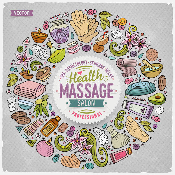 Vector set of Massage cartoon doodle objects Stock photo © balabolka