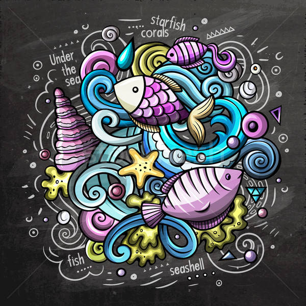 Underwater cartoon vector doodle chalkboard illustration Stock photo © balabolka