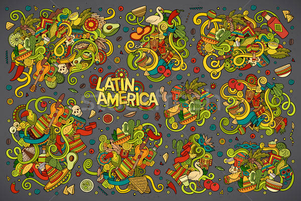 Colorful Vector Doodle Latin American Designs Vector Illustration