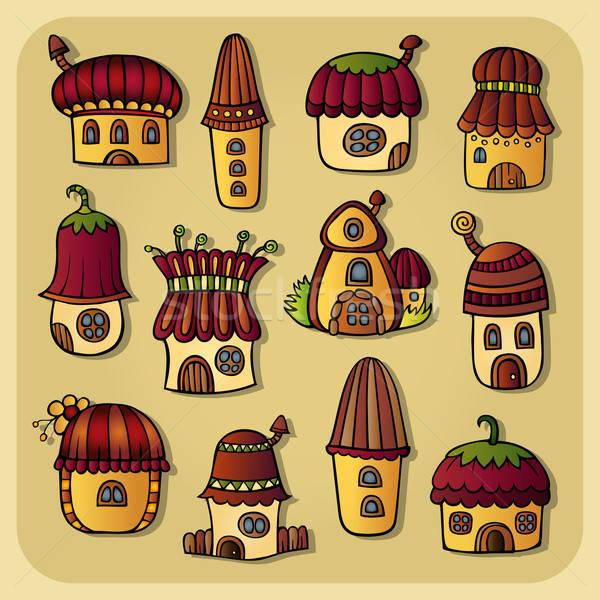 Set of color cartoon vector houses Stock photo © balabolka