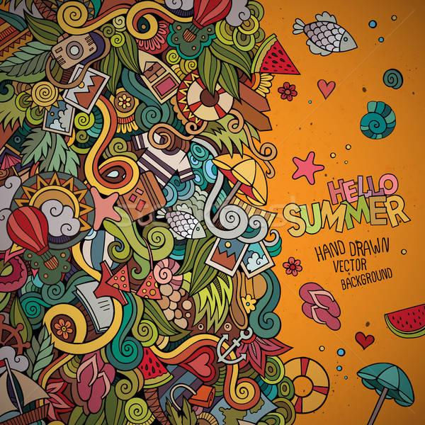 Firkák absztrakt dekoratív nyár vektor keret Stock fotó © balabolka