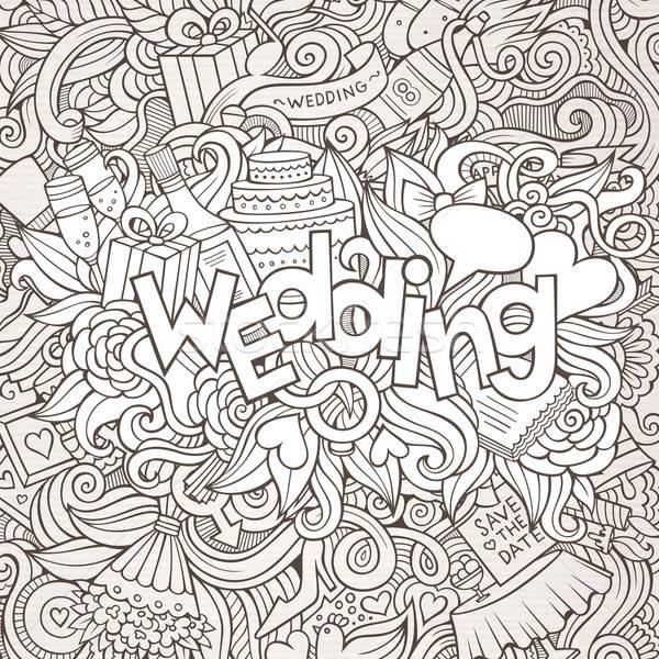 Bruiloft hand communie schets bloem Stockfoto © balabolka