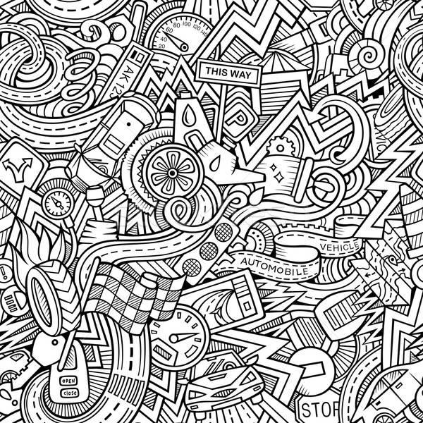 Cartoon hand-drawn sketchy doodles on the subject of car style Stock photo © balabolka