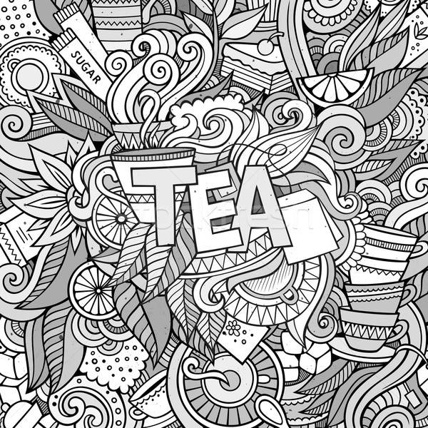 Tè mano scarabocchi elementi foglia arte Foto d'archivio © balabolka