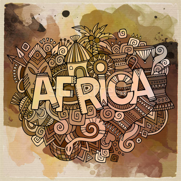 Africa hand lettering and doodles elements background Stock photo © balabolka