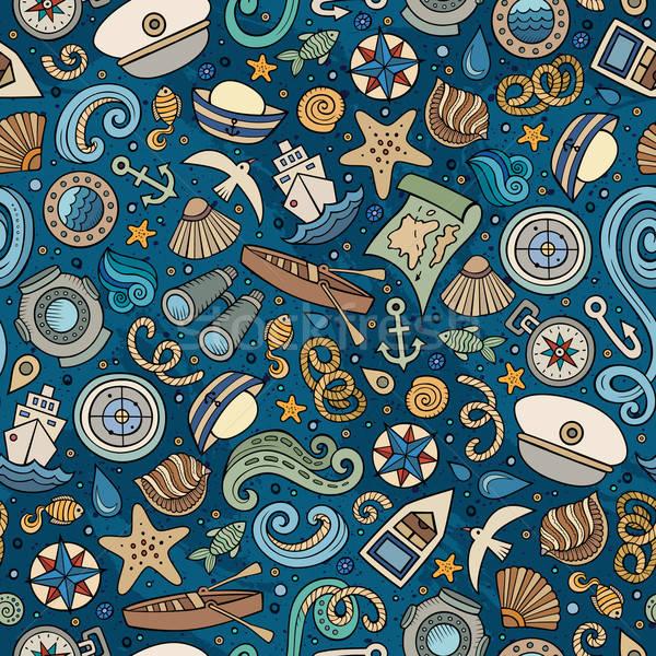 Rajz tengerészeti végtelen minta tengeri színes részletes Stock fotó © balabolka
