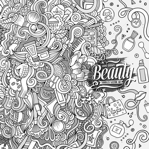 Cartoon bazgroły kosmetyki ramki projektu cute Zdjęcia stock © balabolka
