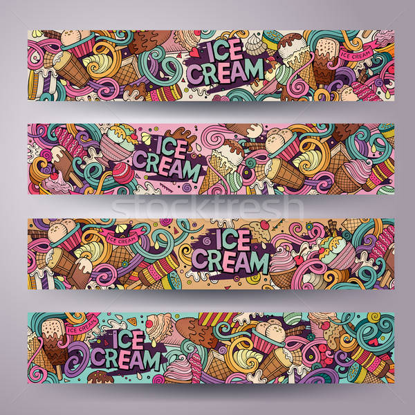 Cartoon line art vector doodles ice cream banners Stock photo © balabolka