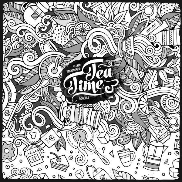 Cartoon cute doodles hand drawn tea frame design Stock photo © balabolka