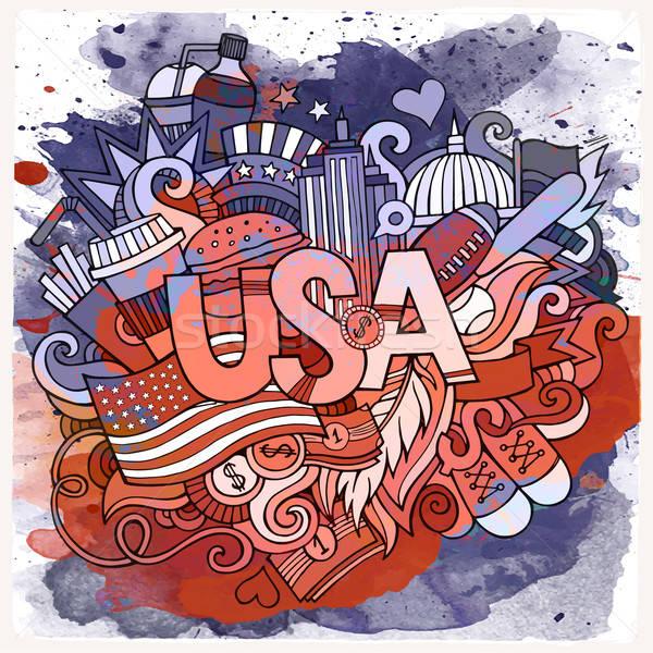 Cartoon vector hand drawn doodle USA illustration Stock photo © balabolka