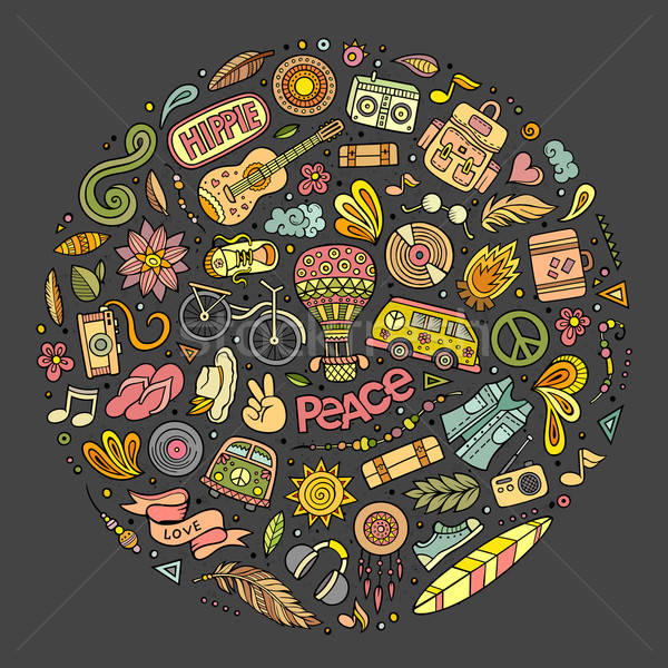 Conjunto hippie desenho animado rabisco objetos colorido Foto stock © balabolka