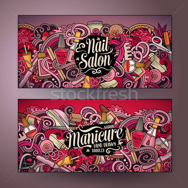 Stock photo: Cartoon cute vector doodles Nail salon banners