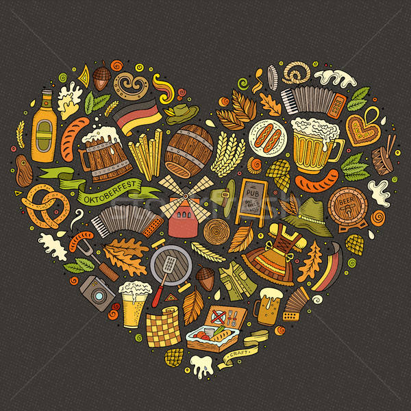 Vector set of Oktoberfest cartoon doodle objects, symbols and items. Stock photo © balabolka
