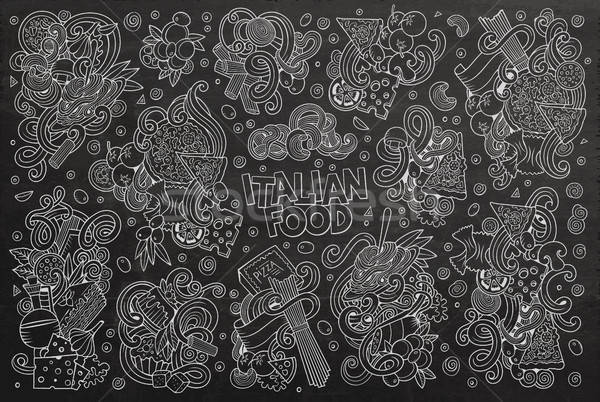 Stock photo: Chalkboard vector cartoon set of italian food objects