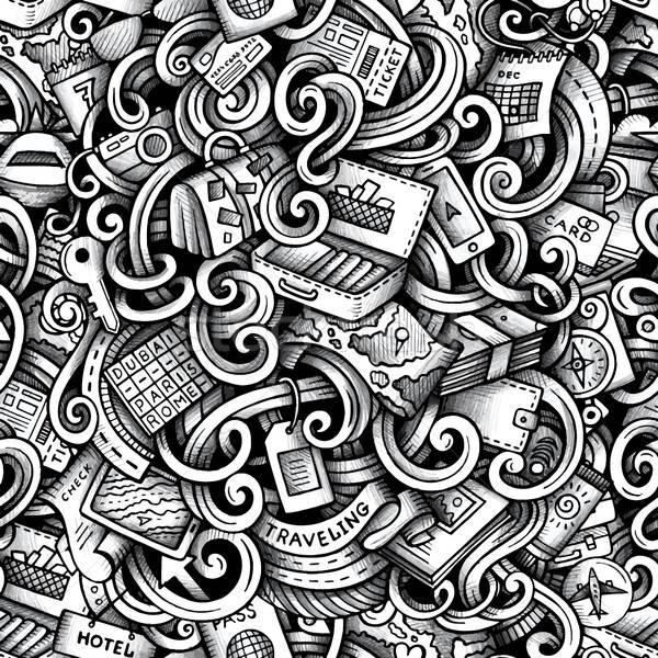 Cartoon doodles Travel season trace seamless pattern Stock photo © balabolka