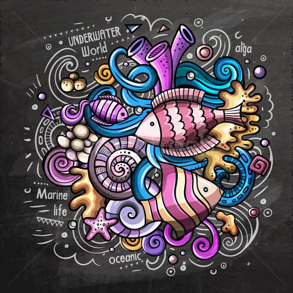 Subacuático Cartoon vector garabato pizarra ilustración Foto stock © balabolka