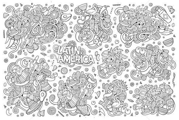 Vetor rabisco americano objetos Foto stock © balabolka
