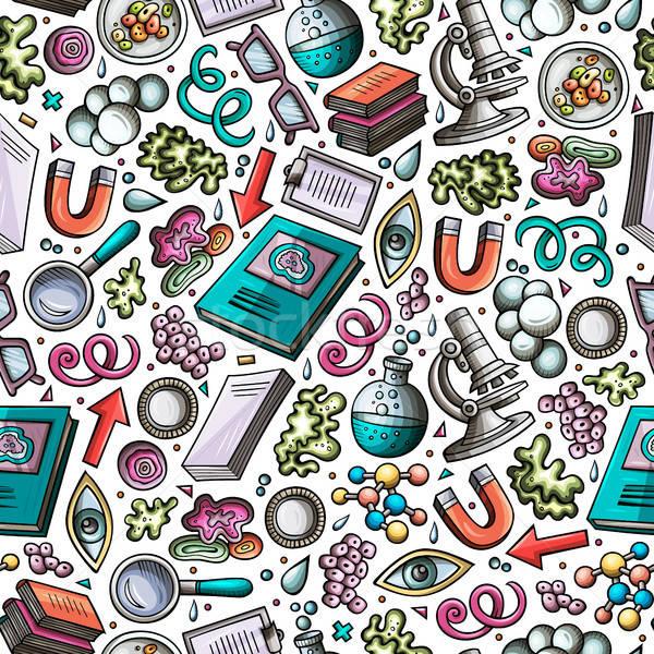 Stock photo: Cartoon cute hand drawn Science seamless pattern