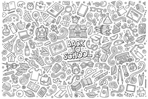 Vector doodle cartoon set of School objects and symbols Stock photo © balabolka