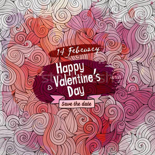 Vector love doodles watercolor card design Stock photo © balabolka