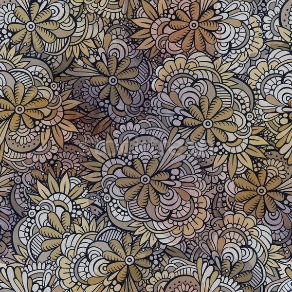 Vector seamless abstract flowers pattern. Stock photo © balabolka