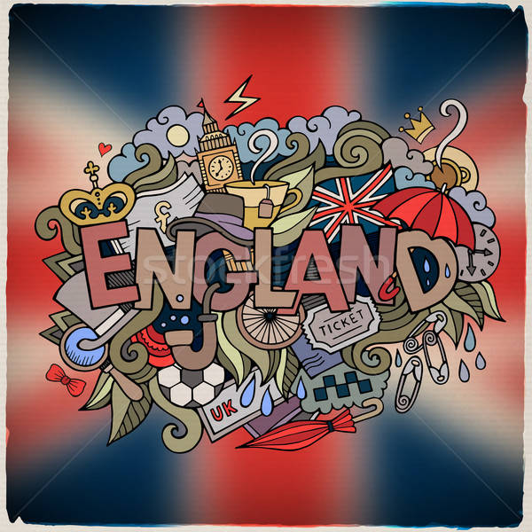 England country hand lettering and doodles elements Stock photo © balabolka