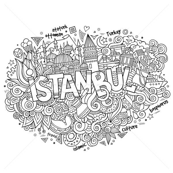 Istanbul city hand lettering and doodles elements Stock photo © balabolka