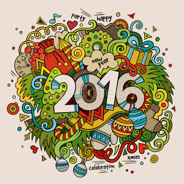 2016 New year hand lettering and doodles elements background Stock photo © balabolka