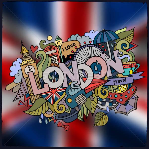 Londra mano scarabocchi elementi città simboli Foto d'archivio © balabolka
