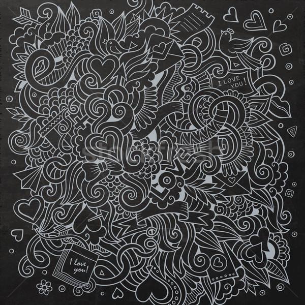 Stock photo: Cartoon vector hand-drawn Love Doodles. Chalkboard design