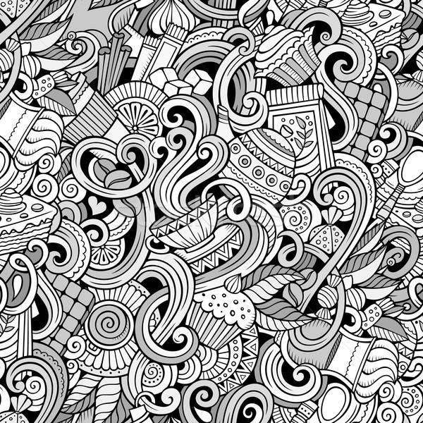 Stock photo: Cartoon hand-drawn doodles of cafe, coffee shop seamless pattern