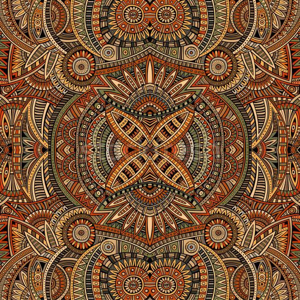 Absztrakt vektor törzsi kisebbségi végtelen minta virág Stock fotó © balabolka