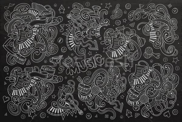 Chalkboard vector hand drawn doodles cartoon set of Music object Stock photo © balabolka