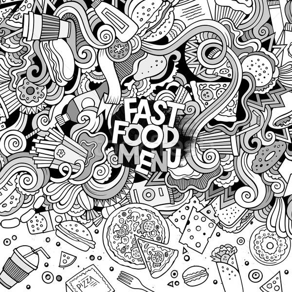 Cartoon scarabocchi fast food frame design cute Foto d'archivio © balabolka