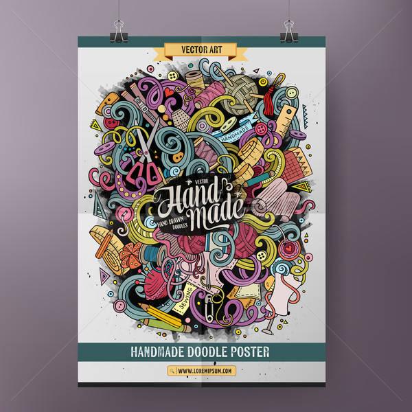 Karikatür karalamalar el yapımı poster renkli Stok fotoğraf © balabolka