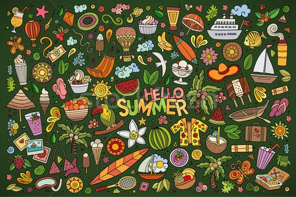 Vector doodle cartoon set of summer objects and symbols Stock photo © balabolka