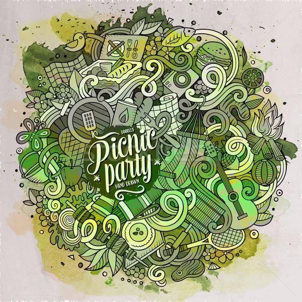 Cartoon cute doodles hand drawn Picnic illustration Stock photo © balabolka