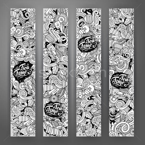 Cartoon line art doodles tea banners Stock photo © balabolka