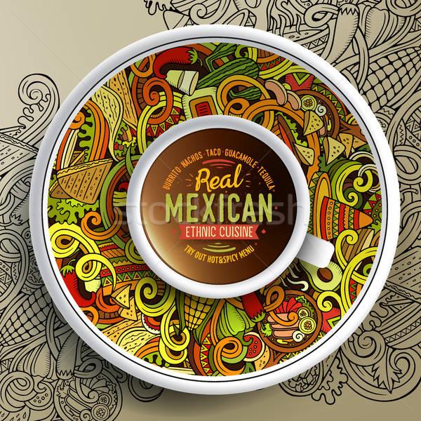 Kubek kawy mexican bazgroły meksykańskie jedzenie Zdjęcia stock © balabolka