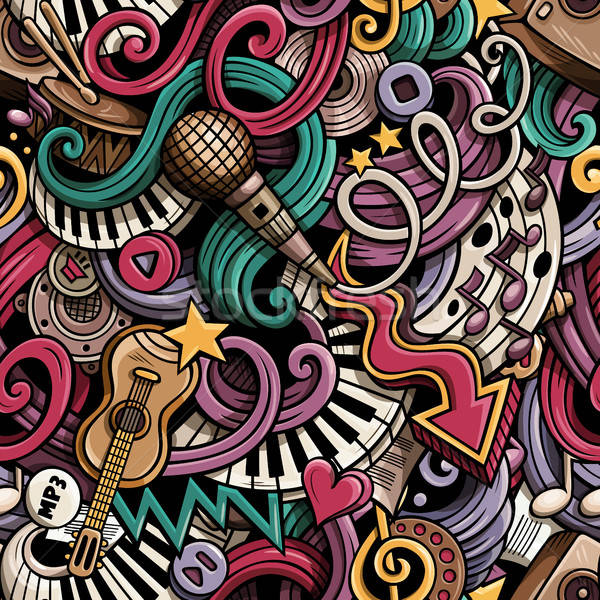 Cartoon hand drawn doodles Music seamless pattern Stock photo © balabolka