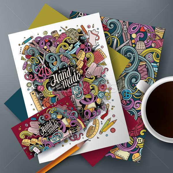 Cartoon cute vector hand drawn doodles Handmade corporate identity set Stock photo © balabolka