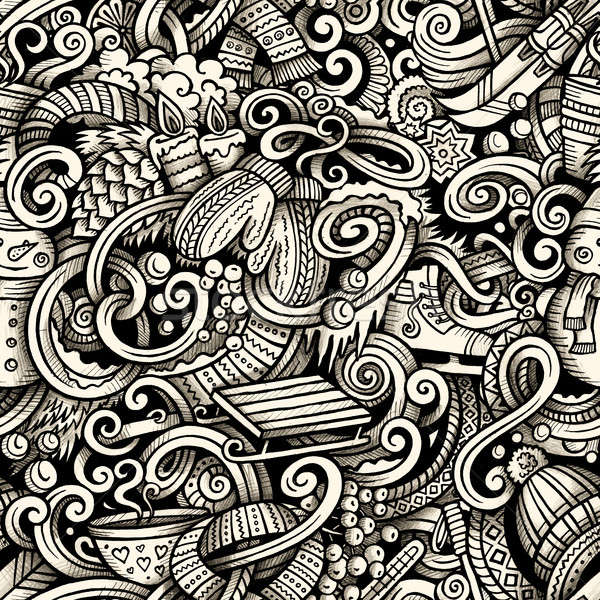 Stock photo: Cartoon doodles Winter season trace seamless pattern