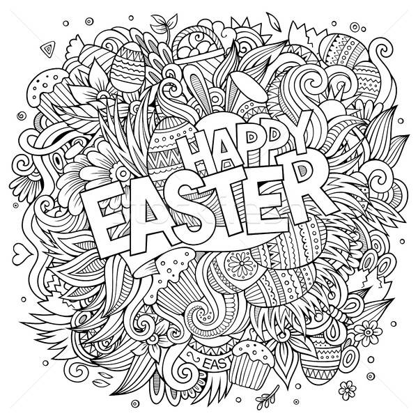 Cartoon hand-drawn doodles Happy Easter background Stock photo © balabolka