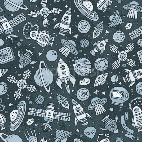 Cartoon hand-drawn space, planets seamless pattern Stock photo © balabolka