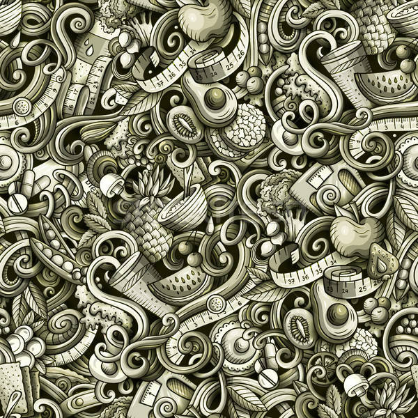 Cartoon cute doodles hand drawn Diet food seamless pattern Stock photo © balabolka