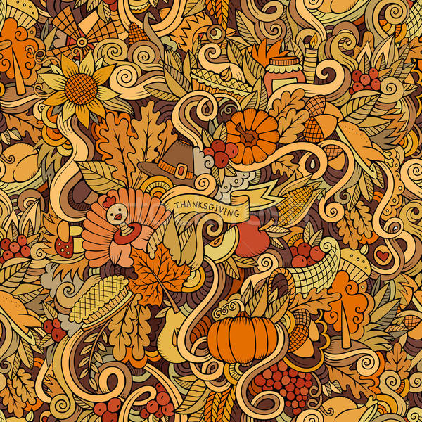 Cartoon vector hand-drawn Doodles on the subject of Thanksgiving Stock photo © balabolka
