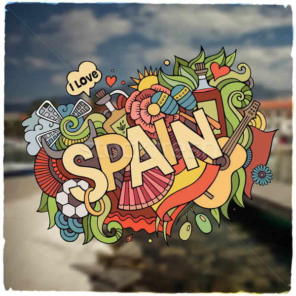 Spain hand lettering and doodles elements emblem Stock photo © balabolka