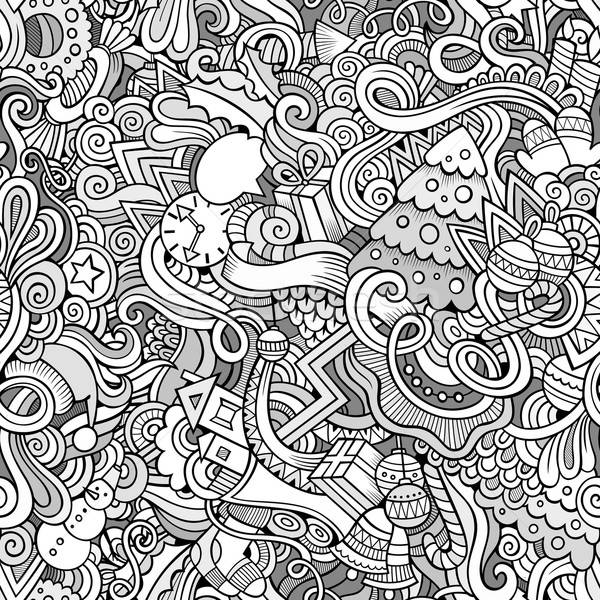 Stock photo: Cartoon vector doodles hand drawn New Year and Christmas