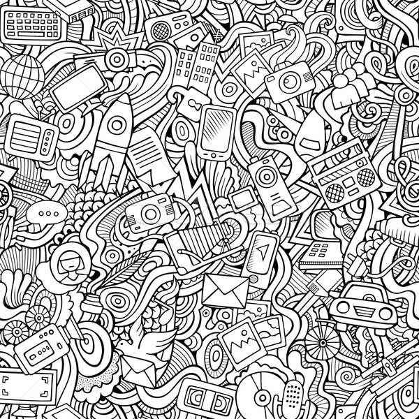 Stock photo: Cartoon vector hand-drawn Doodles on the subject of social media