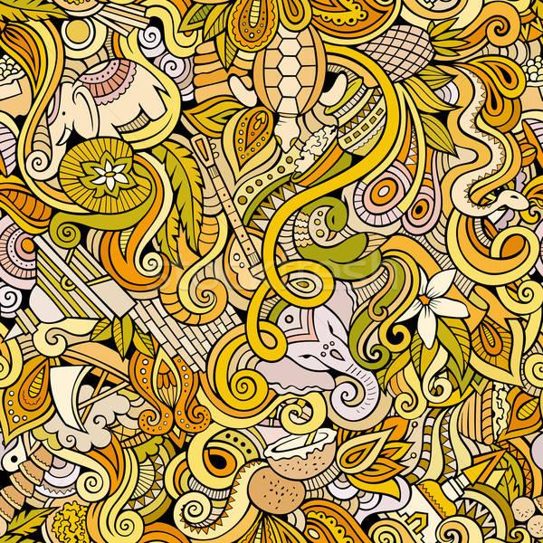 Karikatür karalamalar Hint stil renk Stok fotoğraf © balabolka